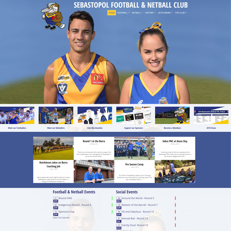 Sebas Football & Netball Club New Website